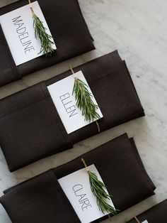 Rosemary sprig Thanksgiving place cards.