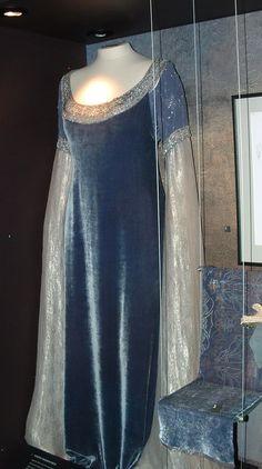 Arwen Blue Velvet with Silver Bell Sleeves Full View