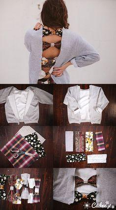 DIY open bow-back shirt