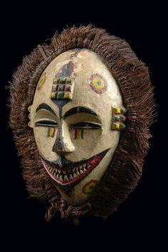 "Africa | Face mask ""okoroshi oma"" from the Igbo people of Nigeria 