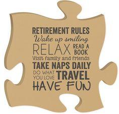 Retirement Rules Quote Puzzle Piece