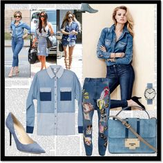 Denim style by chicmisses on Polyvore featuring Ashish, Jimmy Choo, Pring, Nixon and H&M