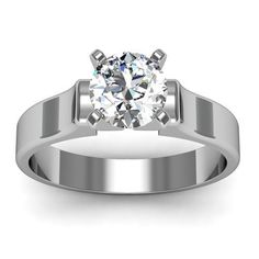 Contour #Solitaire #Engagement #Ring in 18k #White #Gold
