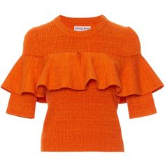 Apiece Apart Cropped Ribbed Ruffle Top ($345) ❤ liked on Polyvore featuring tops, orange, flounce tops, rib top, crop top, cut-out crop tops and frill top