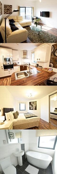 These Manchester serviced apartments are in the city centre, a two minute walk from Salford Central railway station and a two minute walk from the nearest bus stop (Chapel Street/Cook Street). Here are Bloom apartments, Centre, Manchester.