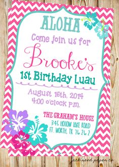 Luau birthday invitation hawaiian themed party by bigdawgdesigns printable pink and blue luau first birthday party invitation customization available stopboris Gallery