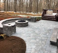 Quality Landscape Management for Every Budget Call Black River Landscape Management specializes in landscape and garden design, and the creation ofbackyard hardscapes in New Jersey. We also offer lawn maintenance and snow removal services. Paving Stone Patio, Concrete Paving, Paver Walkway, Brick Pavers, Fire Pit Patio, Fire Pits, Backyard Patio Designs, Backyard Ideas, Lawn Maintenance