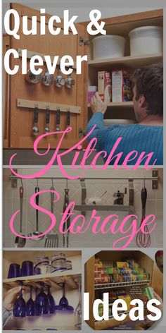 11 Quick and Clever Kitchen Storage Ideas: simple solutions for organizing kitchen clutter. Get the ideas and start decluttering today! Clever Kitchen Storage, Smart Kitchen, Kitchen Redo, Kitchen Organization, Storage Organization, Kitchen Design, Storage Ideas, Storage Rack, Kitchen Cabinets