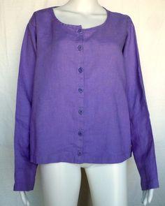FLAX SUNSHINE Cute Cardi Top, Wisteria Linen, Purple, L, NWOT #Flax #Blouse #Casual