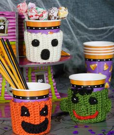 Spooky Cup Cozies.  FREE PATTERN 9/14.