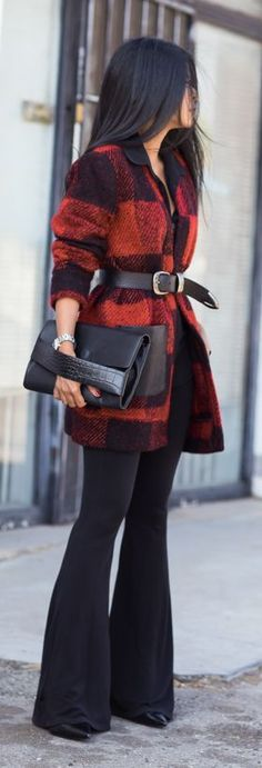 Black And Red Plaid Belted Jacket by Walk In Wanderland