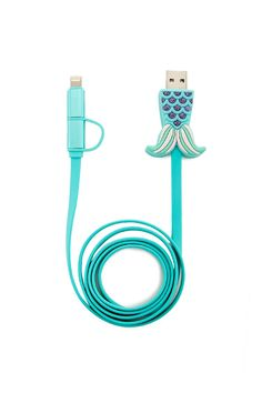 Mermaid Tail USB Cable by: 21 (US) DetailsA lightning to USB cable with a plug-in mermaid tail design at the USB end and two interlocking chargers compatible with both Apple® and Android® products. Mermaid Kisses, Mermaid Tails, Mermaid Mermaid, Tattoo Mermaid, Vintage Mermaid, Mermaid Style, Mermaid Swimming, Unicorns And Mermaids, Real Mermaids
