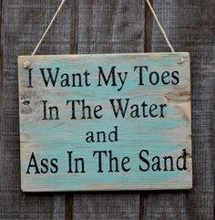 "Beach Decor, Beach Themed Room Handpainted Driftwood Hanging Sign, ""I Want My Toes In The Water and Ass In The Sand""."