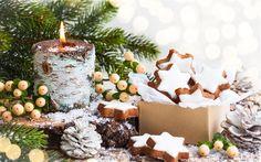 Descargar fondos de pantalla Navidad, Año Nuevo, la quema de la vela, conos, galletas, decoraciones de Navidad