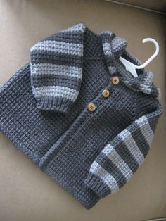 Chrochet Baby Boy Sweater with Hood Dark Grey by ForBabyCreations,