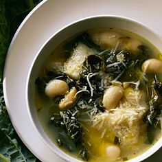 Tuscan Kale, White Bean, and Ciabatta Soup - Fantastic! Had it for dinner tonight...made a few changes - used canned beans (don't have to cook it as long), vegetable broth and left out the rosemary, anchovies & cheese...OMG