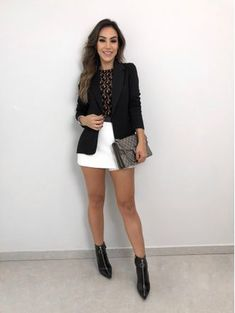 Blazer roma nicole preto fashion in 2019 одежда, гардероб, с Blazer Outfits, Blazer Fashion, Skirt Outfits, Casual Outfits, Cute Outfits, Fashion Outfits, Womens Fashion, Dress Skirt, Edgy Style