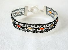 bracelet handmade bobbin lace out of yarn Blick with by UliBaysie, €39.90