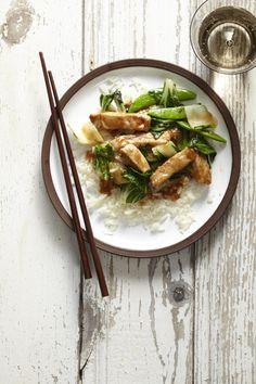 Hoisin-Glazed Pork, Bok Choy and Snap Peas #healthyfamilydinners #easydinners #pork #myplate