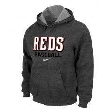 Wholesale Men Fashion Winter Cincinnati Reds Dark Grey Baseball Pullover Hoodie_Cincinnati Reds Pullover Hoodie