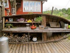 Amazing Creativity: Great Re-purpose an old boat into a shelving unit