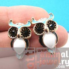 Cute Owl Bird Animal Stud Earrings in Blue and White on Black $6.50