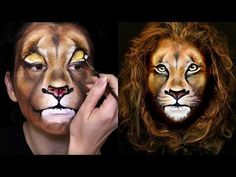 Lion Makeup & Face Painting Tutorial - Learn this colourful Tropical Princess face painting design, aka Disney Moana princess. Lion Makeup, Animal Makeup, Tiger Makeup, Zebra Makeup, Doll Face Paint, Face Paint Makeup, Face Painting Tutorials, Face Painting Designs, Lion Halloween