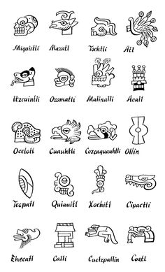 Mexico - Aztec Day Signs <---trying to learn nahuatl