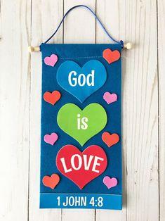 God is Love Banner Craft Kit Sunday School Crafts For Kids, Bible School Crafts, Sunday School Activities, Valentine's Day Crafts For Kids, Toddler Church Crafts, Vbs Crafts, Preschool Crafts, Christian Kids Crafts, Dulceros Halloween