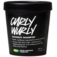 """Curly Wurly Coconut Shampoo: """"Fresh, nutritious ingredients work wonders on your. Curly Wurly Coconut Shampoo: """"Fresh, nutritious ingredients work wonders on your hair and scalp, calming frizz, mois Shampoo For Curly Hair, Curly Hair Care, Frizzy Hair, Curly Hair Styles, Natural Hair Styles, Wavy Hair, Curly Hair Products, 4c Hair, Lush Shampoo"""