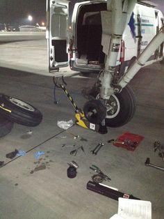Aircraft wheel exchange by GTL-LOT line maintenance team