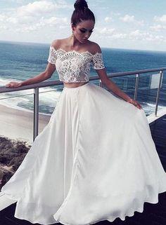 Charming Long Formal Gowns,Prom Dresses,White Lace Two Pieces Long Prom Dress, White Evening Dress,A-Line Prom Dresses Two Piece Wedding Dress, Prom Dresses Two Piece, Evening Dresses With Sleeves, Dress Prom, Prom Gowns, Dress Lace, Ball Gowns, Lace Chiffon, White Chiffon