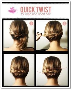 Easy hairstyles for medium-length hair hair … - Easy Hair Style Easy Hair Up, Easy Updos For Medium Hair, Short Hair Updo, Short Wedding Hair, Medium Hair Styles, Short Hair Styles, Wedding Simple, Hair Medium, Fast Easy Hairstyles