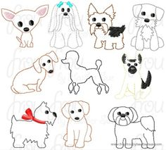 Clippie Dogs TEN Design SET Full Body Machine Embroidery In The Hoop Project 1.5, 2 and 3 inch