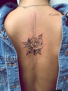 Photo by Elizabeth Bondaruk – tattoos for women small Back Tattoo Women Spine, Back Tattoos Spine, Girl Back Tattoos, Cover Up Tattoos, Mini Tattoos, Rose Tattoos, Sexy Tattoos, Body Art Tattoos, Small Tattoos