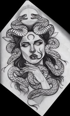 Medusa Tattoo Design, Tattoo Design Drawings, Tattoo Sketches, Thigh Tattoo Designs, Leg Tattoos, Body Art Tattoos, Small Tattoos, Sleeve Tattoos, Tattos