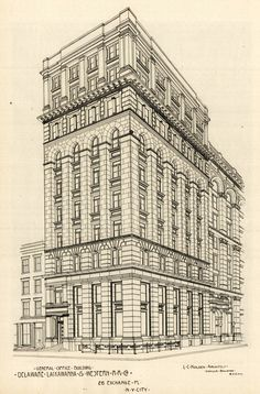 The General Office Building of the Delaware, Lackawanna & Western Rail Road Company, New York City Architecture Mapping, New York Architecture, Architecture Concept Drawings, Neoclassical Architecture, Historical Architecture, Architecture Design, Two Point Perspective City, 2 Point Perspective Drawing, Perspective Art