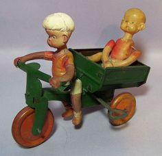VINTAGE 1930s GEORGE BORGFELDT CELLULOID HENRY MOTORING TIN TRICYCLE WIND UP TOY