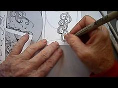 Scrolled Feather Tangle Pattern Lesson #97 - Melinda Barlow YouTube