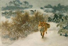 bruno liljefors | Bruno Liljefors, Räv i snöklätt landskap, 1939, olja på duk, 35 x ...