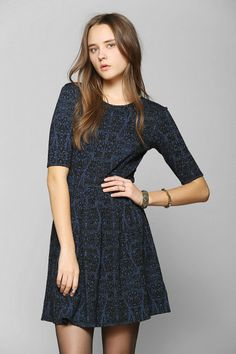 Cooperative Pleated Fit & Flare Dress