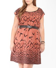 Flock Of Birds Print Dress | FOREVER21 PLUS - 2000048242
