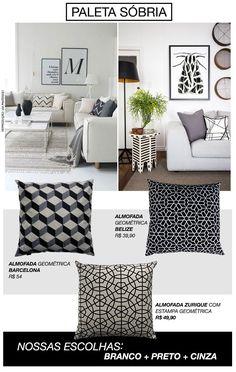 O trio de cores branco, preto e cinza nunca sai de moda. Com uma atmosfera jovial e ao mesmo tempo descolada, sua sala ficará sempre elegante. Aqui, as almofadas com estampa geométrica é uma ótima …
