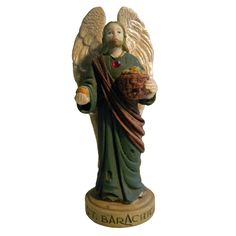 The Archangel St Barachiel is the bearer of God's Providence and Bountiful Blessings, he is also the patron of the sacrament of matrimony. Angel Statues, Archangel, Saints, Blessed, Lion Sculpture, God, Blessings, Angels, Dios
