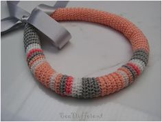 Spring Crochet Tube Necklace Satin Ribbon peach by BeeDifferent1, $25.00