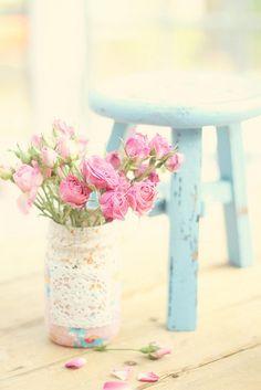 pink roses, aqua farmhouse stool