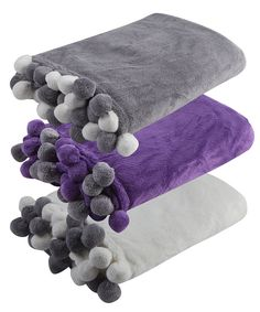 FOREVER DREAMING Luxury Throw Plain Blanket With Pom Poms Supersoft Fleece