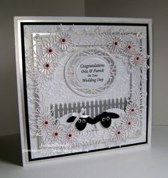 Wedding Day Card using dies from Creative Expressions / Sue Wilson, Daisy Cluster, Grace and the Wild Roses Embossing Folder, Tonic Studios Layering Squares and Scalloped / Plain Ovals and a Crafts Too, Fence.