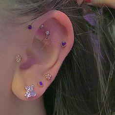 Pretty Ear Piercings, Ear Peircings, Multiple Ear Piercings, Tongue Piercings, Cartilage Piercings, Ear Jewelry, Cute Jewelry, Body Jewelry, Piercing Ring