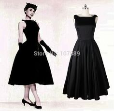 Audrey Hepburn vintage style 50s dresses little black Mid Calf Satin Sexy elegant Ankle Length Prom Dresses Free shipping CY751-in Prom Dresses from Apparel & Accessories on Aliexpress.com | Alibaba Group